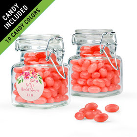 Personalized Bridal Shower Favor Assembled Swing Top Square Jar Filled with Just Candy Jelly Beans
