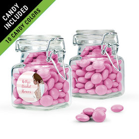 Personalized Bridal Shower Favor Assembled Swing Top Square Jar Filled with Just Candy Milk Chocolate Minis
