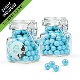 Personalized Bridal Shower Favor Assembled Swing Top Square Jar Filled with Sixlets