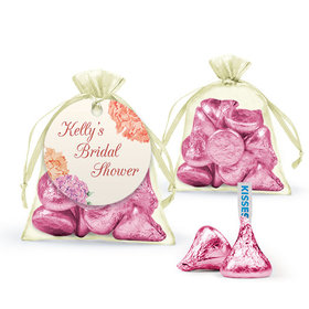 Personalized Bridal Shower Favor Assembled Organza Bag Filled with Hershey's Kisses