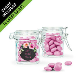 Personalized Bridal Shower Favor Assembled Swing Top Round Jar Filled with Just Candy Milk Chocolate Minis