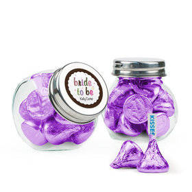 Personalized Bridal Shower Favor Assembled Mini Side Jar Filled with Hershey's Kisses