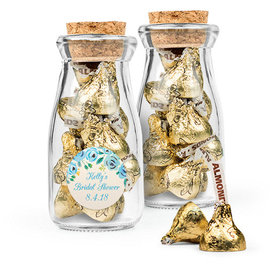 Personalized Bridal Shower Favor Assembled Glass Bottle with Cork Top Filled with Hershey's Kisses