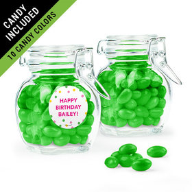 Personalized Kids Birthday Favor Assembled Swing Top Jar Filled with Just Candy Jelly Beans