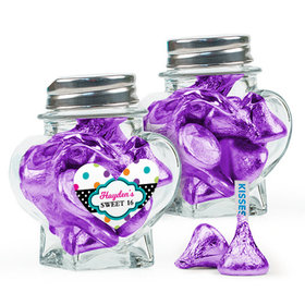 Personalized Kids Birthday Favor Assembled Heart Jar Filled with Hershey's Kisses