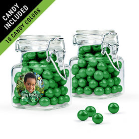 Personalized Kids Birthday Favor Assembled Swing Top Square Jar Filled with Sixlets
