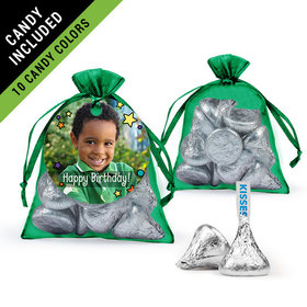 Personalized Kids Birthday Favor Assembled Organza Bag Filled with Hershey's Kisses
