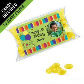 Personalized Kids Birthday Favor Assembled Pillow Box Filled with Just Candy Jelly Beans