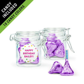 Personalized Kids Birthday Favor Assembled Swing Top Round Jar Filled with Hershey's Kisses