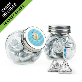 Personalized Kids Birthday Favor Assembled Mini Side Jar Filled with Hershey's Kisses
