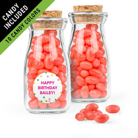 Personalized Kids Birthday Favor Assembled Glass Bottle with Cork Top Filled with Just Candy Jelly Beans