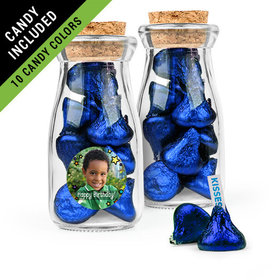 Personalized Kids Birthday Favor Assembled Glass Bottle with Cork Top Filled with Hershey's Kisses